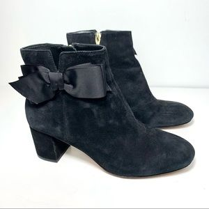 Kate Spade Langley Black Suede Bow Ankle Booties